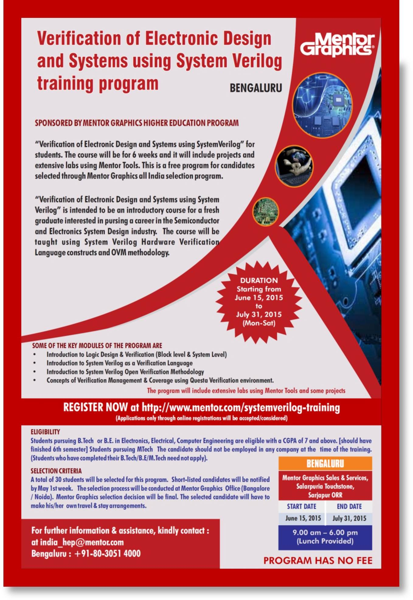 Free Professional 6 weeks Mentor Graphics System Verilog